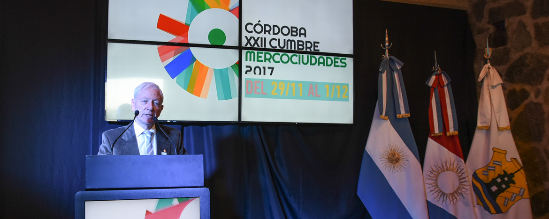 El rector Hugo Juri en la presentación de la Cumbre de Mercociudades