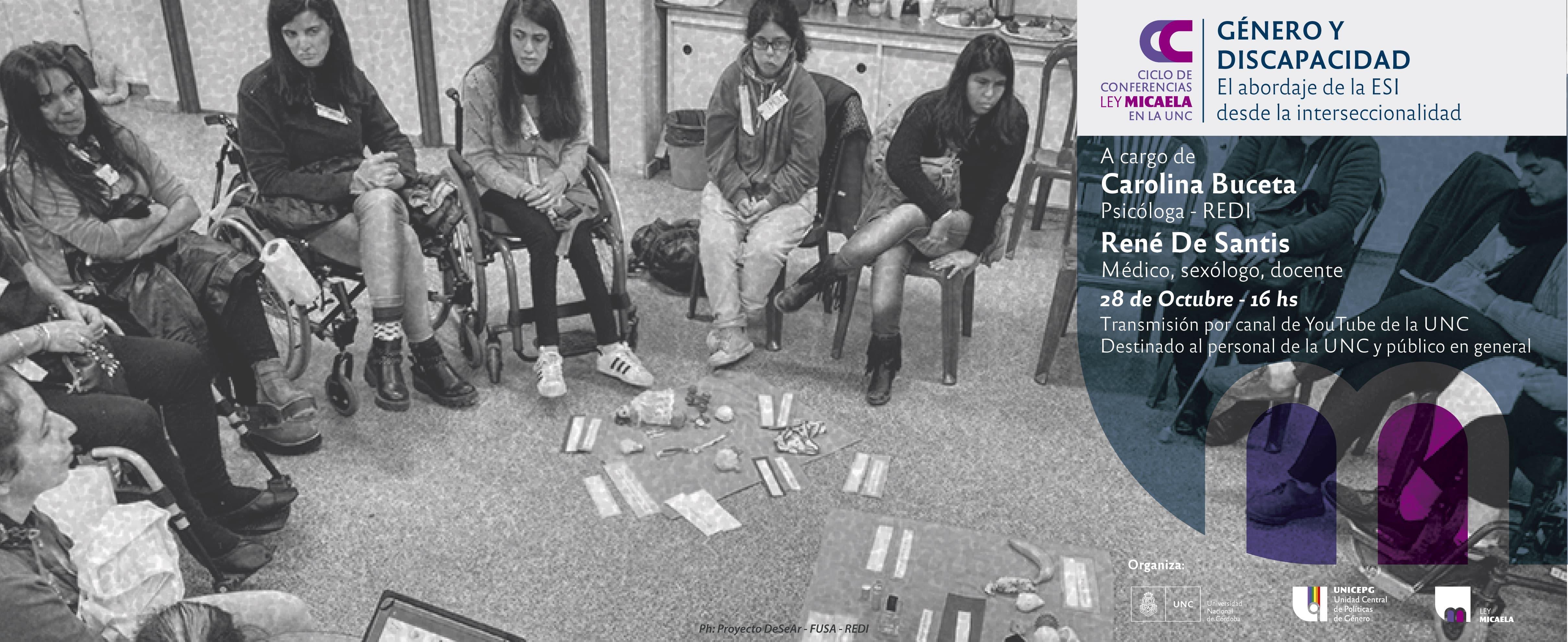"""Ciclo de Conferencias Ley Micaela en la UNC """"Género y Discapacidad: El abordaje de la ESI desde la interseccionalidad"""""""