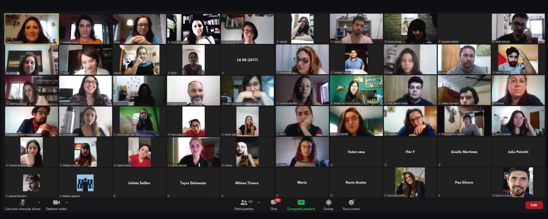 reunión virtual con estudiantes por la No violencia de género